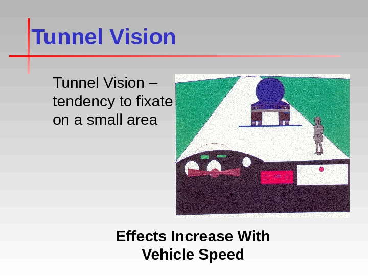 Tunnel Vision – tendency to fixate on a small area Effects Increase With Vehicle Speed