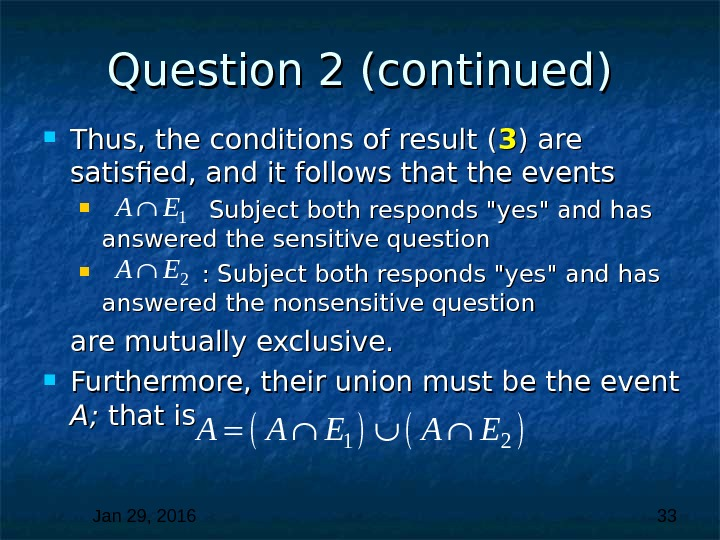 Jan 29, 2016  33 Question 2 (continued) Thus, the conditions of result ( 33 )