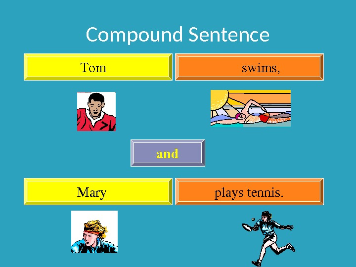 Compound Sentence Tom swims, Mary playstennis. and