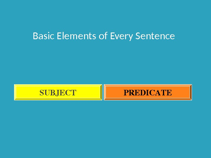 Basic Elements of Every Sentence SUBJECT PREDICATE