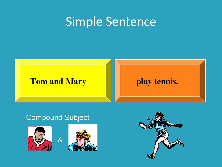 Simple Sentence playtennis. Tomand. Mary Compound Subject &
