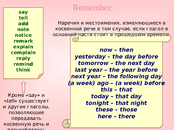 Remember: now – then yesterday – the day before tomorrow – the next day last year