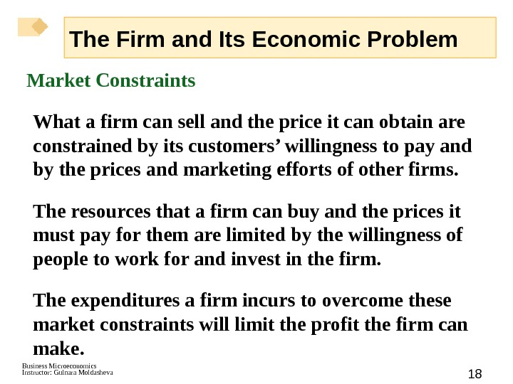 Business Microeconomics Instructor: Gulnara Moldasheva 18 Market Constraints  What a firm can sell and the