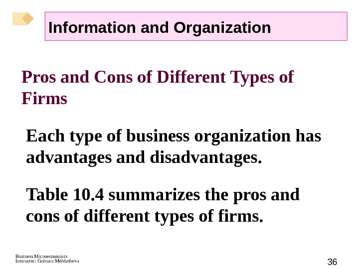 Business Microeconomics Instructor: Gulnara Moldasheva 36 Pros and Cons of Different Types of Firms Each type