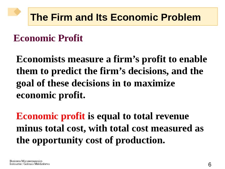 Business Microeconomics Instructor: Gulnara Moldasheva 6 Economic Profit Economists measure a firm's profit to enable them
