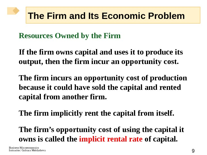 Business Microeconomics Instructor: Gulnara Moldasheva 9 Resources Owned by the Firm If the firm owns capital