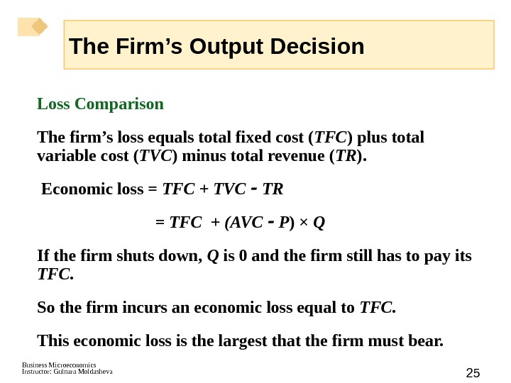 Business Microeconomics Instructor: Gulnara Moldasheva 25 Loss Comparison The firm's loss equals total fixed cost (
