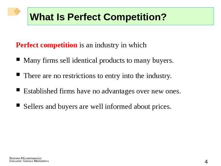 Business Microeconomics Instructor: Gulnara Moldasheva 4 What Is Perfect Competition? Perfect competition  is an industry