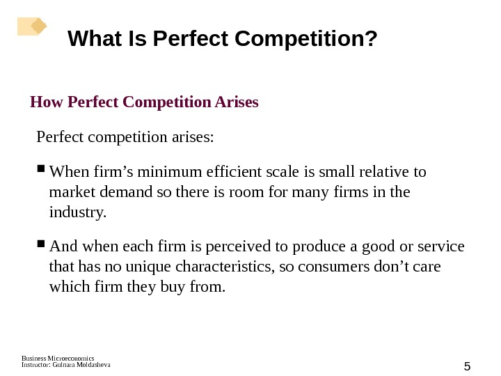 Business Microeconomics Instructor: Gulnara Moldasheva 5 How Perfect Competition Arises Perfect competition arises:  When firm's