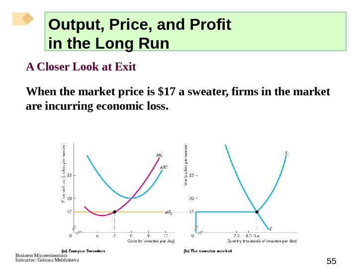 Business Microeconomics Instructor: Gulnara Moldasheva 55 A Closer Look at Exit When the market price is