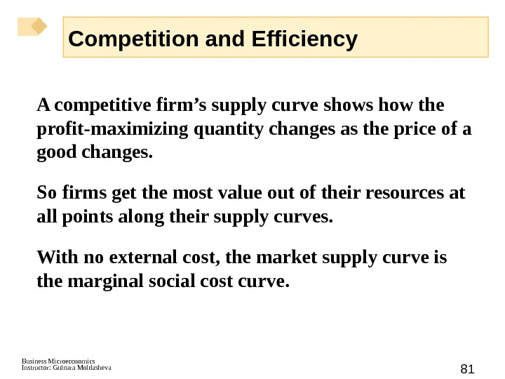 Business Microeconomics Instructor: Gulnara Moldasheva 81 A competitive firm's supply curve shows how the profit-maximizing quantity