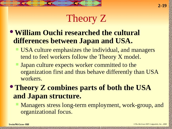 2 - 19 Irwin/Mc. Graw-Hill ©The Mc. Graw-Hill Companies, Inc. , 2000 Theory Z William Ouchi