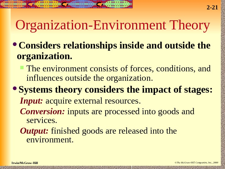 2 - 21 Irwin/Mc. Graw-Hill ©The Mc. Graw-Hill Companies, Inc. , 2000 Organization-Environment Theory Considers relationships