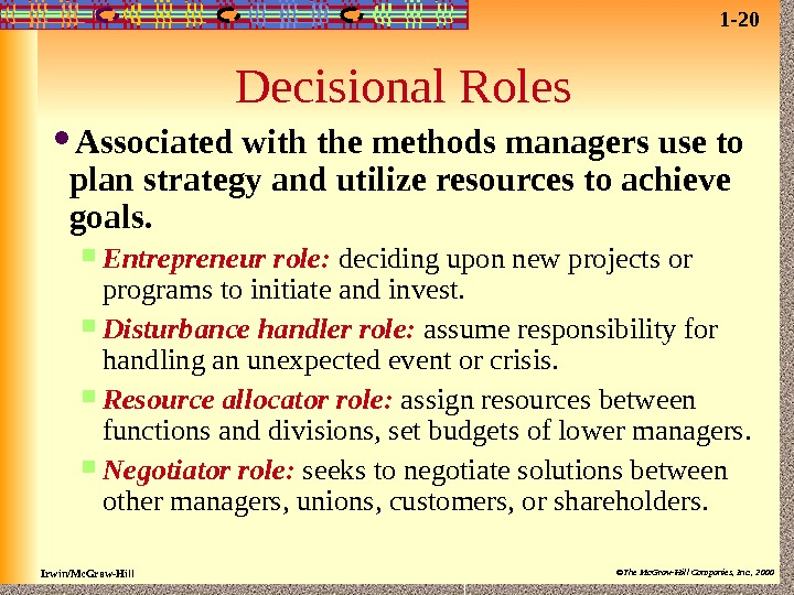 Irwin/Mc. Graw-Hill ©The Mc. Graw-Hill Companies, Inc. , 2000 Decisional Roles Associated with the methods managers
