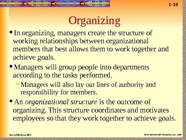 Irwin/Mc. Graw-Hill ©The Mc. Graw-Hill Companies, Inc. , 2000 Organizing In organizing, managers create the structure