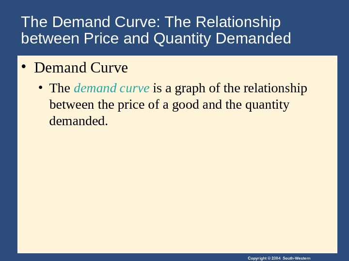 Copyright © 2004 South-Western. The Demand Curve: The Relationship between Price and Quantity Demanded • Demand