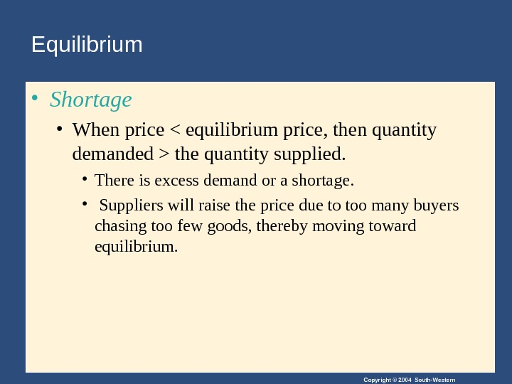 Copyright © 2004 South-Western. Equilibrium • Shortage • When price  equilibrium price, then quantity demanded