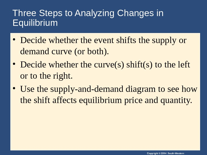 Copyright © 2004 South-Western. Three Steps to Analyzing Changes in Equilibrium • Decide whether the event
