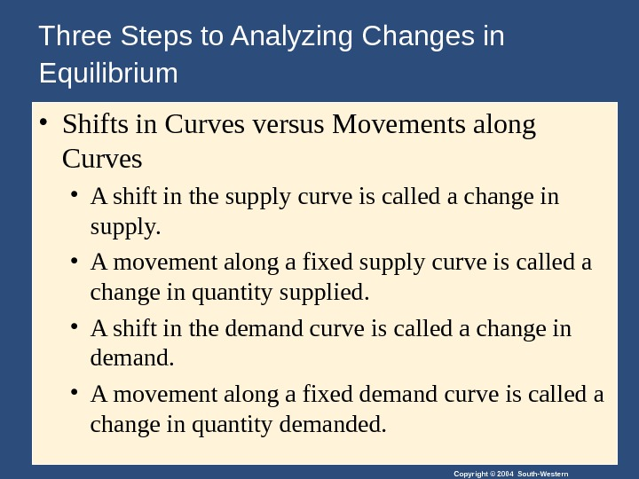 Copyright © 2004 South-Western. Three Steps to Analyzing Changes in Equilibrium  • Shifts in Curves