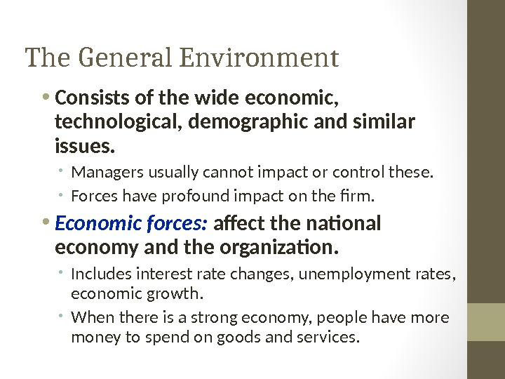 The General Environment • Consists of the wide economic,  technological, demographic and similar issues.