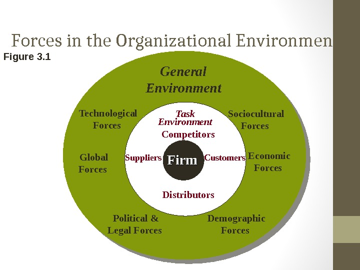 Forces in the Organizational Environment Figure 3. 1 Distributors Firm Task Environment Suppliers Competitors Customers. General