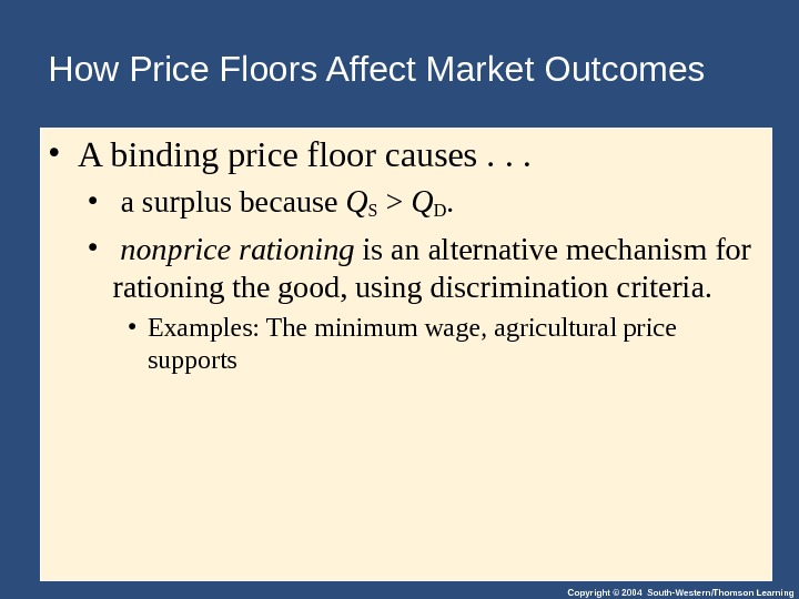 Copyright © 2004 South-Western/Thomson Learning. How Price Floors Affect Market Outcomes • A binding price floor