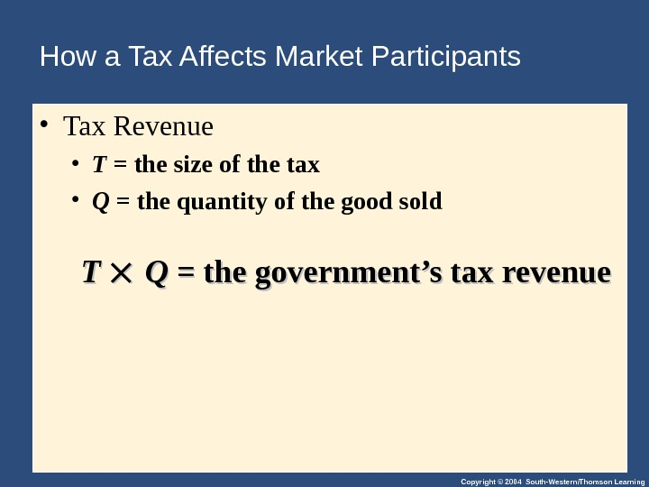 Copyright © 2004 South-Western/Thomson Learning. How a Tax Affects Market Participants  • Tax Revenue •
