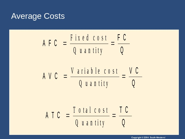 Copyright © 2004 South-Western/Average Costs. A F C Q F i x e d  c