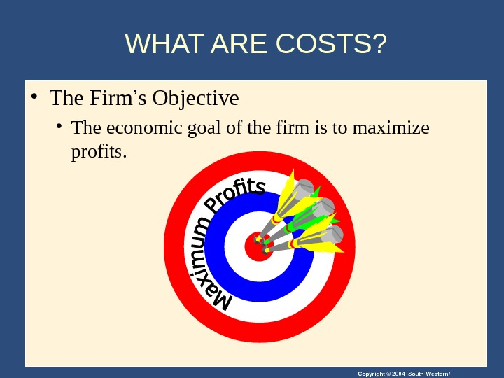 Copyright © 2004 South-Western/WHAT ARE COSTS?  • The Firm ' s Objective • The economic