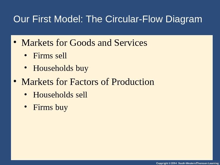 Copyright © 2004 South-Western/Thomson Learning. Our First Model: The Circular-Flow Diagram • Markets for Goods and