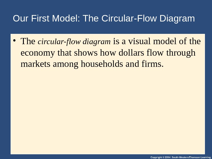 Copyright © 2004 South-Western/Thomson Learning. Our First Model: The Circular-Flow Diagram • The circular-flow diagram is