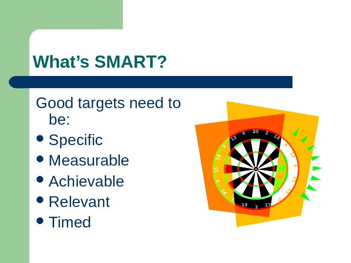 What's SMART? Good targets need to be:  Specific Measurable Achievable Relevant Timed