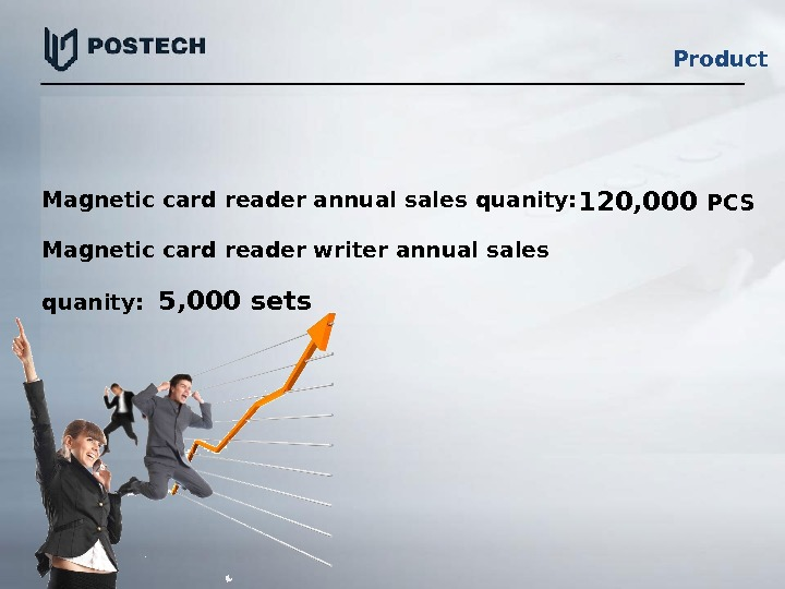 Magnetic card reader annual sales quanity: Magnetic card reader writer annual sales quanity: 120, 000 PCS