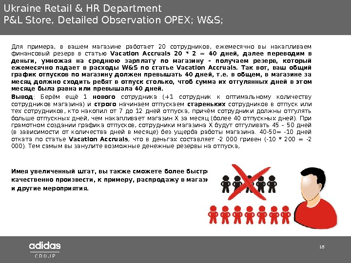 18 Ukraine Retail & HR Department P&L Store ,  Detailed Observation OPEX; W&S;