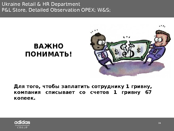 24 Ukraine Retail & HR Department P&L Store ,  Detailed Observation OPEX; W&S; Для того,