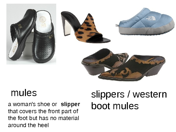 mules a woman's shoe or slipper  that covers the front part of the