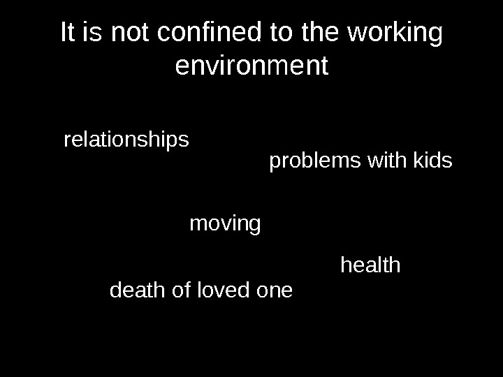 It is not confined to the working environment relationships moving problems with kids death of loved