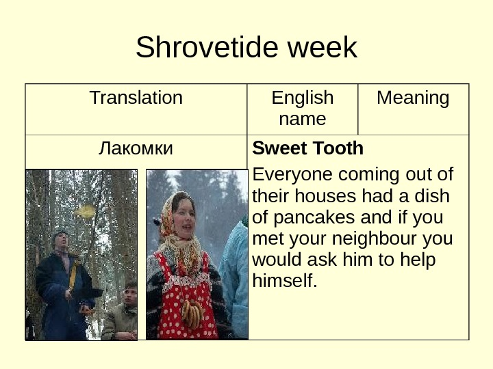 Shrovetide week Translation English name Meaning Лакомки Sweet Tooth Everyone coming out of their
