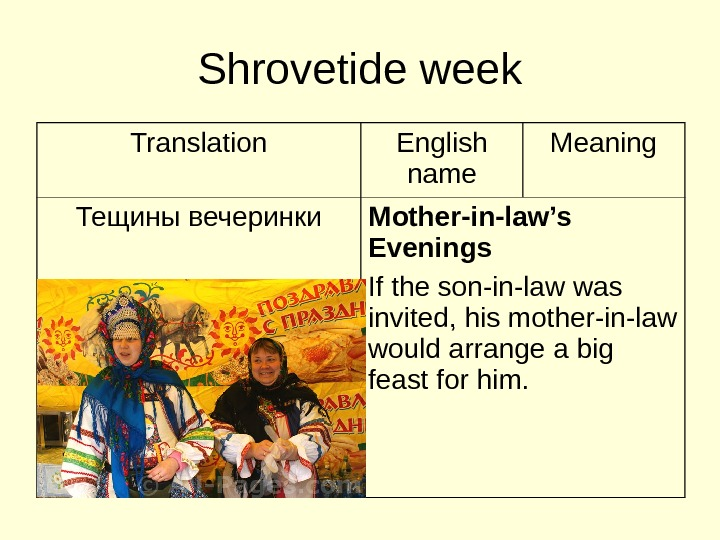 Shrovetide week Translation English name Meaning Тещины вечеринки Mother-in-law's Evenings If the son-in-law was
