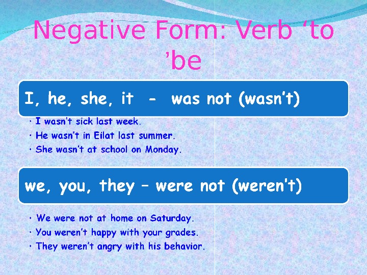 Negative Form: Verb 'to be'