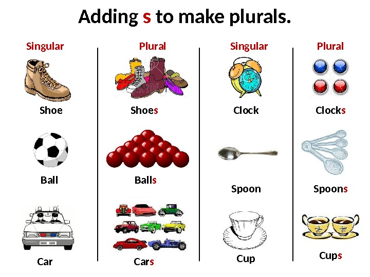 Adding s to make plurals. Shoe Ball Car Clock. Shoe s Ball s Car s Clock