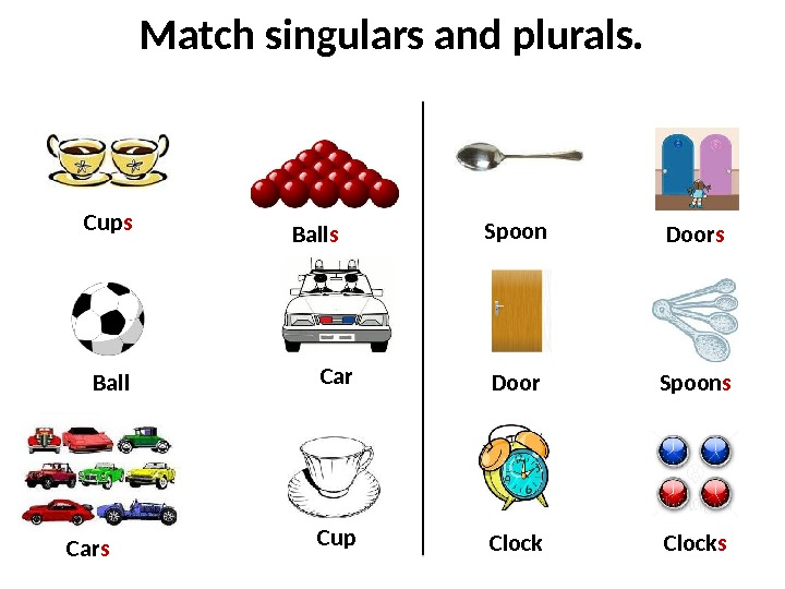 Match singulars and plurals. Ball Car Clock. Ball s Car s Clock s. Cup s Spoon