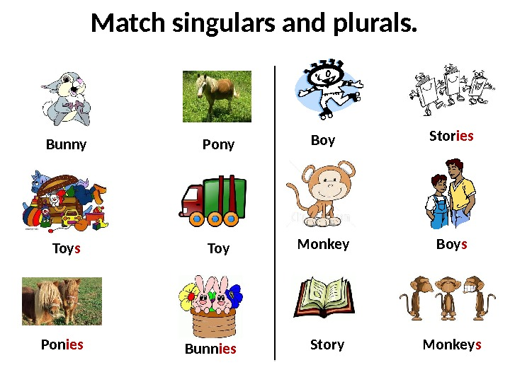 Match singulars and plurals. Bunny Pony Story Bunn ies. Pon ies Stor ies Monkey s. Toy