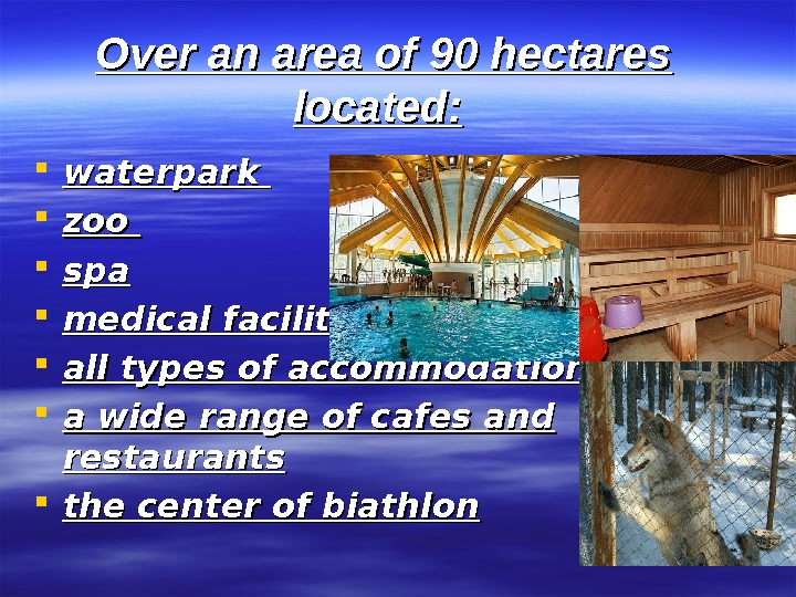 Over an area of  90 hectares located: waterpark  zoo  spaspa medical
