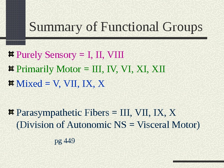Summary of Functional Groups Purely Sensory = I, II, VIII Primarily Motor = III, IV, VI,