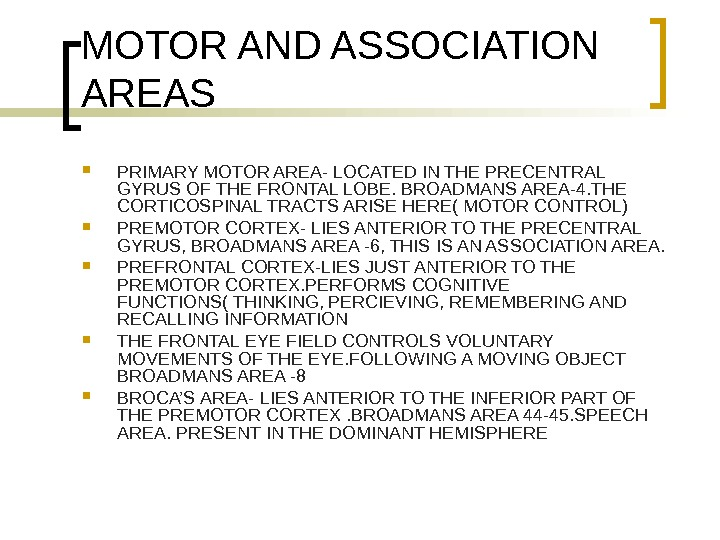 MOTOR AND ASSOCIATION AREAS PRIMARY MOTOR AREA- LOCATED IN THE PRECENTRAL GYRUS OF THE FRONTAL LOBE.