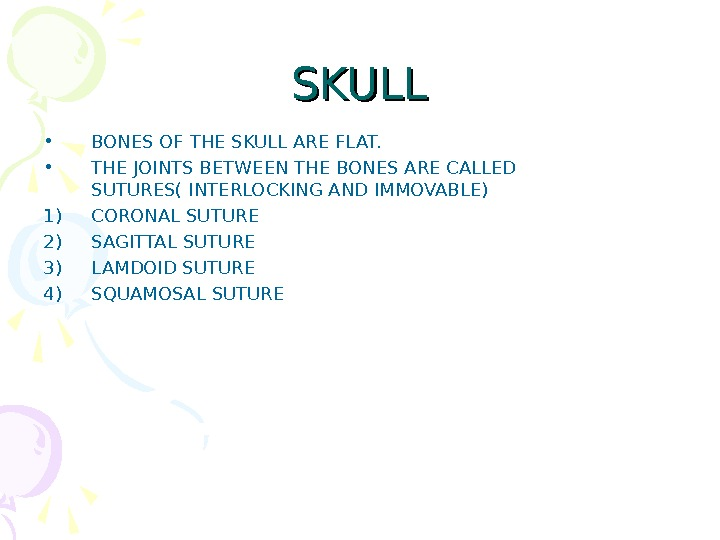 SKULL • BONES OF THE SKULL ARE FLAT.  • THE JOINTS BETWEEN THE BONES ARE