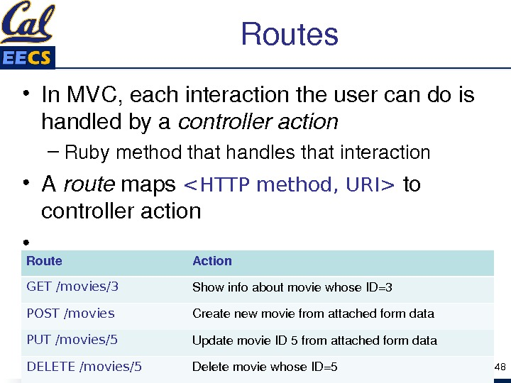 Routes • In. MVC, eachinteractiontheusercandois handledbya controlleraction – Rubymethodthathandlesthatinteraction • A route maps HTTP method, URI
