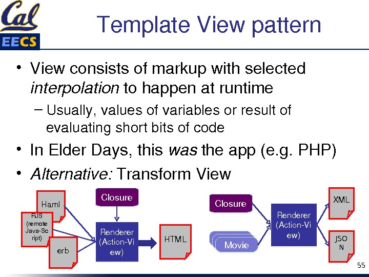 Template. Viewpattern • Viewconsistsofmarkupwithselected interpolation tohappenatruntime – Usually, valuesofvariablesorresultof evaluatingshortbitsofcode • In. Elder. Days, this was