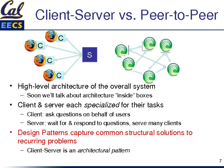 "Client. Servervs. Peerto. Peer • Highlevelarchitectureoftheoverallsystem – Soonwe'lltalkaboutarchitecture""inside""boxes • Client&servereach specialized fortheirtasks – Client: askquestionsonbehalfofusers –"